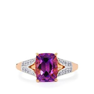 Moroccan Amethyst & White Zircon 9K Rose Gold Ring ATGW 2.24cts