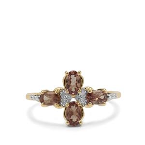 Bekily Colour Change Garnet Ring with Diamond in 9K Gold 1.09cts