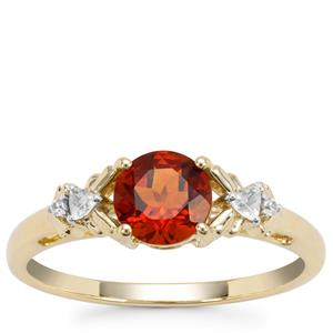 Madeira Citrine Ring with White Zircon in 9K Gold 0.78ct