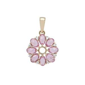 Rose Cut Pink Sapphire Pendant with White Zircon in 9K Gold 1.95cts