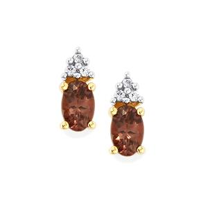Bekily Color Change Garnet Earrings with White Zircon in 10k Gold 1ct
