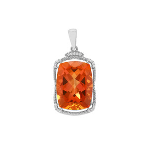 Padparadscha Quartz Pendant with White Zircon in Sterling Silver 14.98cts