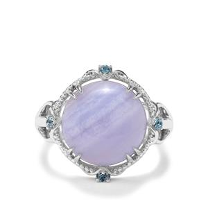Blue Lace Agate & Swiss Blue Topaz Sterling Silver Ring ATGW 8.54cts