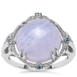 Blue Lace Agate Ring with Blue Topaz in Sterling Silver 8.54cts