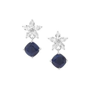 Bharat Sapphire Earrings with White Topaz in Sterling Silver 7.93cts