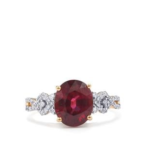 Malawi Garnet Ring with Diamond in 18K Gold 3.79cts