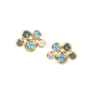 Marambaia London Blue, Swiss Blue Topaz Earrings with White Zircon in Gold Plated Sterling Silver 1.86cts