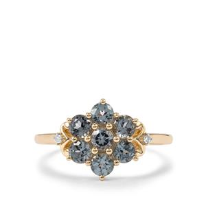 Mahenge Blue Spinel Ring with Diamond in 9K Gold 1.32cts