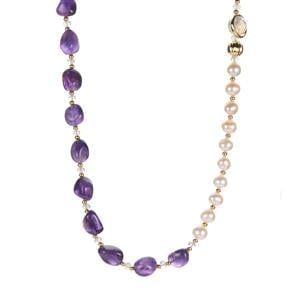 Bahia Amethyst, Kaori Cultured Pearl Necklace with Labradorite in Gold Tone Sterling Silverr