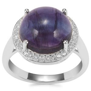 Argentine Rainbow Fluorite Ring with White Topaz in Sterling Silver 7.07cts