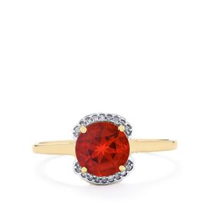 Tarocco Red Andesine Ring with Diamond in 9K Gold 1.04cts