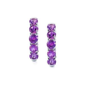 8.30ct Moroccan Amethyst Platinum Plated Sterling Silver Earrings