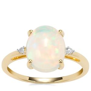 Ethiopian Opal Ring with Diamond in 10k Gold 2.06cts