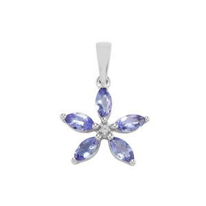 AA Tanzanite Pendant with White Topaz in Sterling Silver 1.22cts