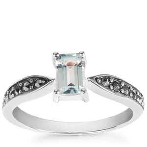 Swiss Blue Topaz Ring with Marcasite in Sterling Silver 0.81cts