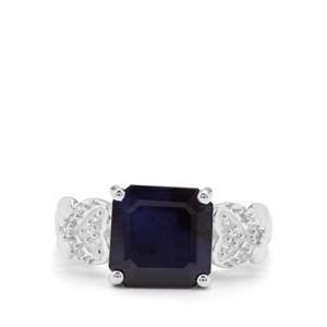 Madagascan Blue Sapphire & White Zircon Sterling Silver Ring ATGW 5.52cts