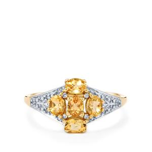 Ouro Preto Imperial Topaz, Champagne Diamond Ring with White Diamond in 9K Gold 1.04cts