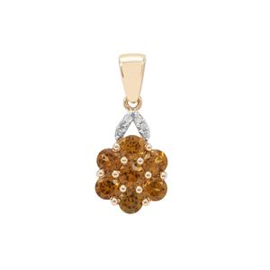 Mansanite™ Pendant with Diamond in 9K Gold 1.40cts