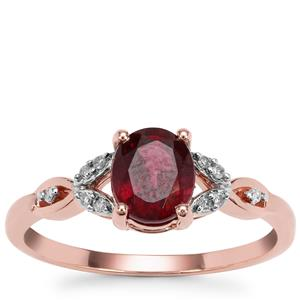 Malawi Garnet Ring with Diamond in 9K Rose Gold 1.45cts