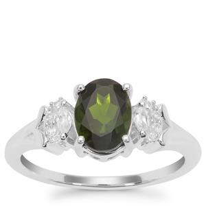 Chrome Diopside Ring with White Zircon in Sterling Silver 1.42cts