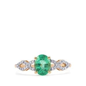 Ethiopian Emerald Ring with Diamond in 18K Gold 1.04cts