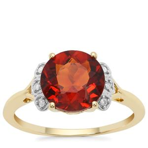 Madeira Citrine Ring with Diamond in 9K Gold 2.34cts