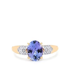 AA Tanzanite Ring with Diamond in 10K Gold 1.77cts