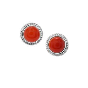 Red Chalcedony Earrings in Sterling Silver 4.51cts