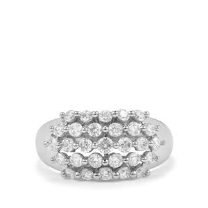 Diamond Ring in 18K White Gold 1ct