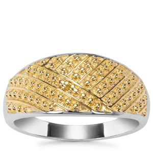 Yellow Diamond Ring in Two Tone Gold Plated Sterling Silver