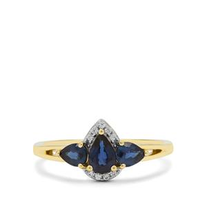 Nigerian Blue Sapphire Ring with White Zircon in 9K Gold 0.95ct