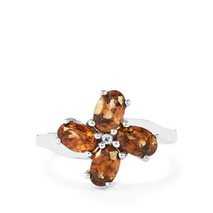 Cognac Zircon & White Topaz Sterling Silver Ring ATGW 2.86cts