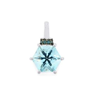 Sky Blue Topaz & Blue Diamond 9K White Gold Polaris Pendant ATGW 3.16cts