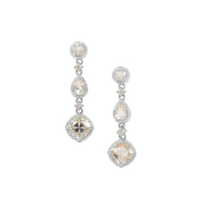 Serenite Earrings with White Zircon in Sterling Silver 4.64cts