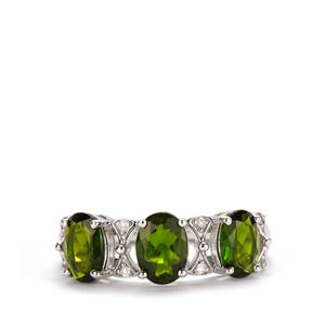 Chrome Diopside Ring with White Topaz in Sterling Silver 2.50cts