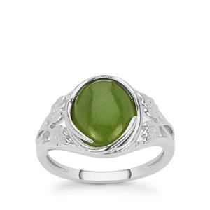 3.75ct Nephrite Jade Sterling Silver Ring