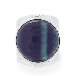 19.83ct Argentine Rainbow Fluorite Sterling Silver Aryonna Ring