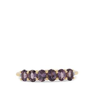 Purple Mahenge Spinel Ring with White Zircon in 9K Gold 1.17cts