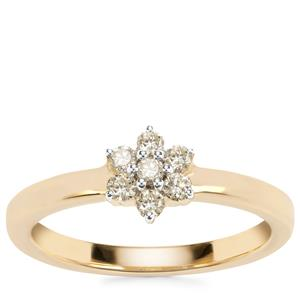 Natural Yellow Diamond Ring in 18k Gold 0.22ct