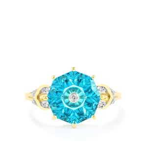Lehrer TorusRing Batalha Topaz Ring with Diamond in 10K Gold 4.02cts
