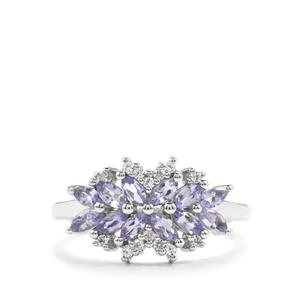 Tanzanite & White Zircon Sterling Silver Ring ATGW 1cts