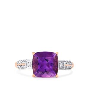 Moroccan Amethyst & Ceylon White Sapphire 9K Rose Gold Ring ATGW 2.87cts