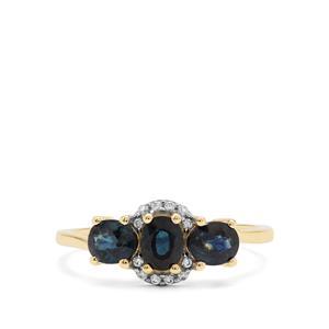Australian Blue Sapphire & White Zircon 9K Gold Ring ATGW 1.46cts