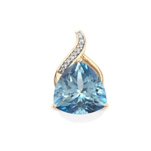 Santa Maria Topaz Pendant with Diamond in 10K Gold 7.13cts