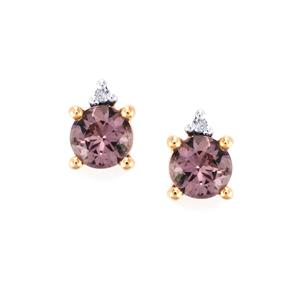 Mahenge Purple Spinel Earrings with Diamond in 10k Rose Gold 1.08cts