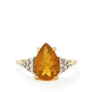 AAA Honey American Fire Opal & White Zircon 10K Gold Ring ATGW 2.49cts