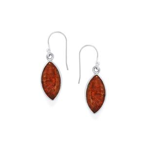 15ct Fossil Red Coral Sterling Silver Aryonna Earrings