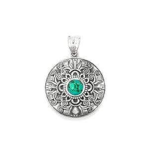 Tibetan Turquoise Pendant in Sterling Silver 1.56cts