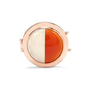 Red Onyx Locket with White Agate in Rose Gold Plated Sterling Silver 14.36cts