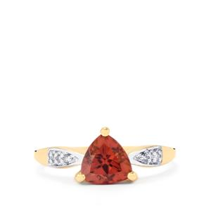 Zanzibar Zircon & Diamond 9K Gold Ring ATGW 1.82cts